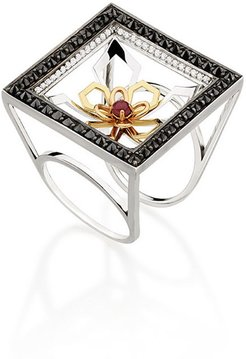 18k White Gold Square Ring with Diamonds