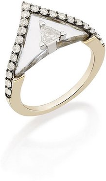 Self Diamond and Rock Crystal Pointed Ring