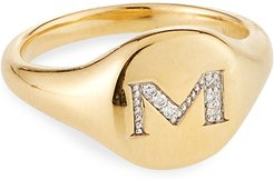 Mini DY Initial M Pinky Ring in 18K Yellow Gold with Diamonds, Size 3.5