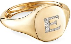 Mini DY Initial E Pinky Ring in 18K Yellow Gold with Diamonds, Size 3