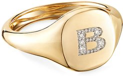 Mini DY Initial B Pinky Ring in 18K Yellow Gold with Diamonds, Size 4.5