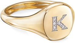 Mini DY Initial K Pinky Ring in 18K Yellow Gold with Diamonds, Size 4