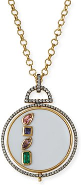18k Rise Necklace with Diamond Trim and Mixed Gems