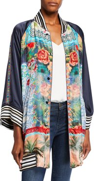 Plus Size Tropical Reversible Button-Front Kimono