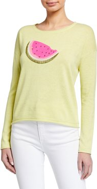 Whatamelon Embroidered Cotton-Blend Sweater