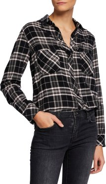Leo Plaid Raw-Hem Button-Down Shirt