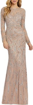 6-Week Shipping Lead Time Damask Sequin Long-Sleeve Column Gown