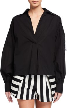 Collared Long-Sleeve Blouse with Fringe