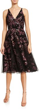 Courtney Embroidered Tulle Sleeveless A-Line Dress