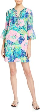 Elenora Bell-Sleeve Silk Shift Dress