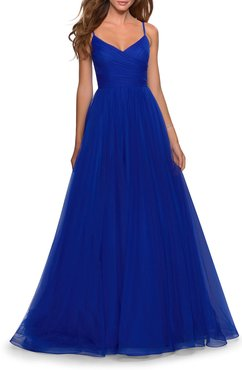 V-Neck A-Line Tulle Ball Gown w/ Ruched Bodice