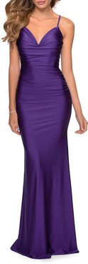 Sweetheart Sleeveless Ruched Jersey Gown with Strappy-Back
