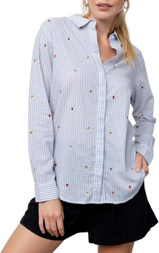 Taylor Embroidered Citrus Striped Button-Down Shirt