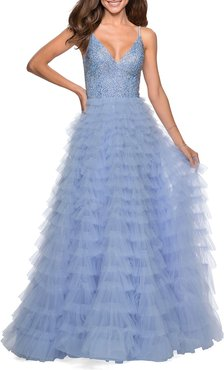 Rhinestone Bodice Tiered Tulle A-Line Gown