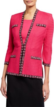Petite 3/4-Sleeve Tweed Trim Jacket