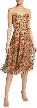 Janice 3D Embroidered Fit-&-Flare Dress