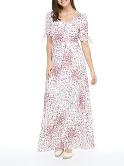 Floral Print Scoop-Neck Maxi Dress