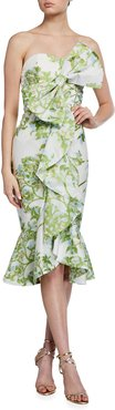 Stephanie Floral Strapless Midi Bow Dress
