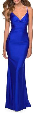 V-Neck Ruched Jersey Gown w/ Lace-Up Back