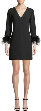 Nicole V-Neck Long-Sleeve Feather-Cuffs A-Line Mini Dress