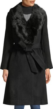 Lenoria Belted Wool Coat with Faux-Fur Collar