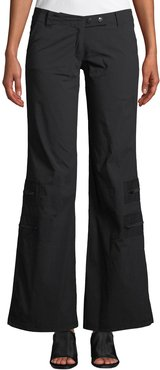 Flare-Leg Cargo Pants w/ Zip Pockets