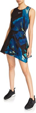 x Maria Sharapova Printed NikeCourt Sleeveless Cutout Tennis Dress
