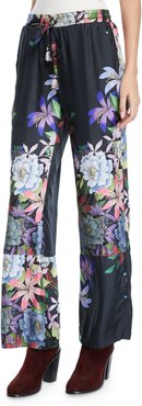 Plus Size Kelly Floral-Print Pants with Drawstring Waist