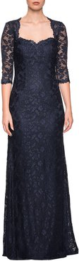 Sweetheart 3/4-Sleeve Lace Column Gown w/ Sequins