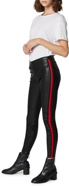 Vegan Leather Pull-On Leggings with Side Stripes