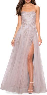Strapless Tulle Gown with Floral Appliques & High Skirt Slit