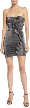 Ali Strapless Metallic Ruffle Mini Cocktail Dress