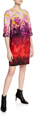 Ombre Floral Degrade-Print 3/4-Sleeve Boxy Shift Dress
