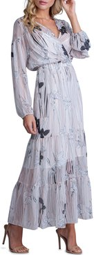 Striped Floral-Print Long-Sleeve Tiered Maxi Dress