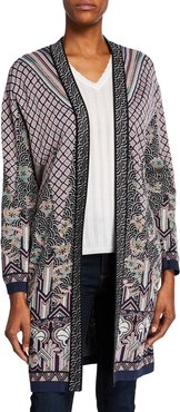 Open-Front Patterned Jacquard Duster