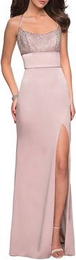 Sleeveless Column Gown with Beaded Top & Thigh-Slit