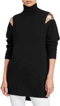 Knit Turtleneck Tunic Sweater with Chainmail Shoulders