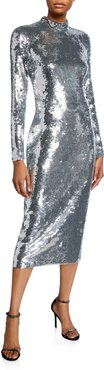 Nila Sequined High-Neck Cocktail Dress