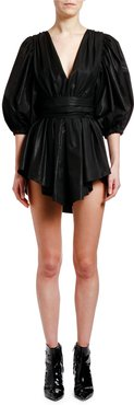 Plunging Puff-Sleeve Belted Mini Dress