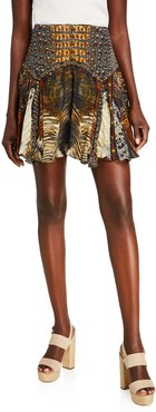 Patchwork Silk Mini Skirt