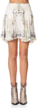 Yoked Silk Godet Mini Skirt