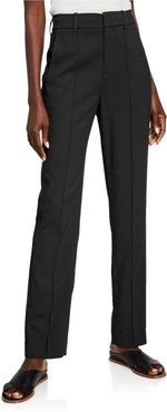 High-Waist Tailored Pintuck Trousers