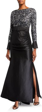 Multi Sequin Bodice Long-Sleeve Gown w/ Draped Mikado Skirt