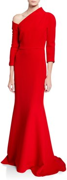 One-Shoulder Crepe Gown with Structured Neckline