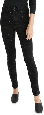 High-Rise Metallic Dot Ankle Skinny Jeans
