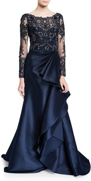 Long-Sleeve Lace Illusion Gown w/ Keyhole-Back & Mikado Ruffle Skirt