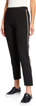 Melody Stretch Crepe Pants w/ Gold Side Taping