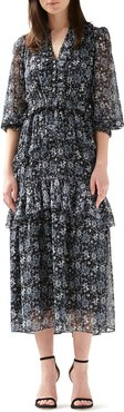 Ruffled Button-Front Tiered Midi Dress