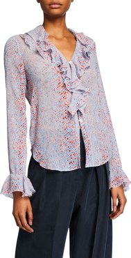 Printed Bell-Sleeve Button-Down Ruffle Blouse