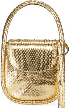 Lucy Micro Top-Handle Bag in Metallic Python